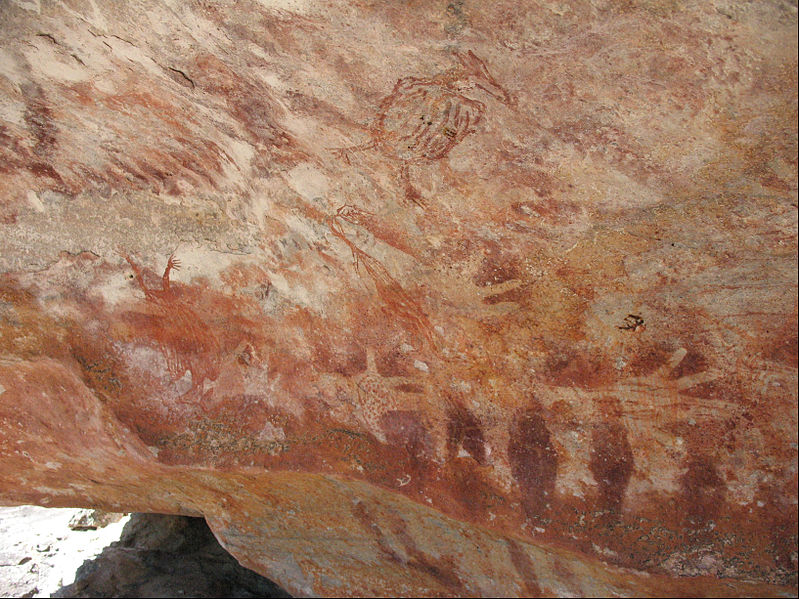 Unknown artist, Australian rock art (Hand stencils and flying foxes), 7000 - 2000 B.C.E.
