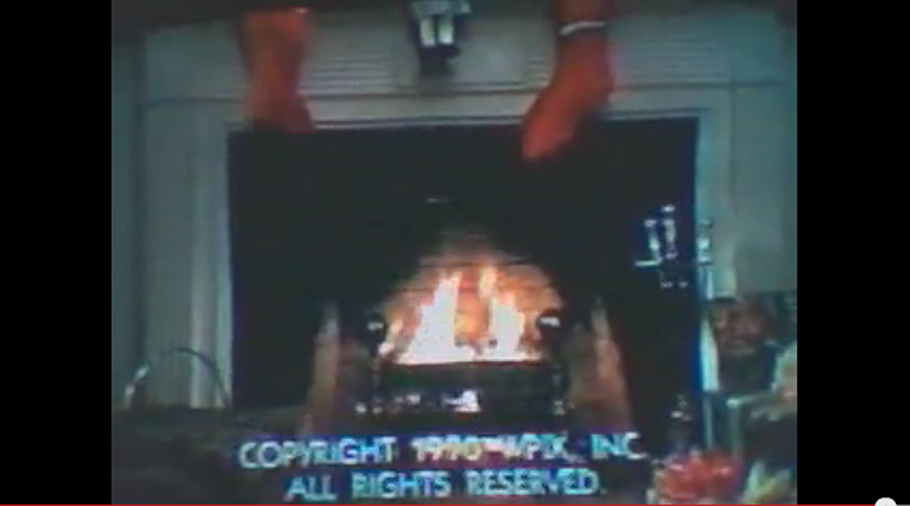 "Screenshot of the original ""Yule Log"" from 1966."