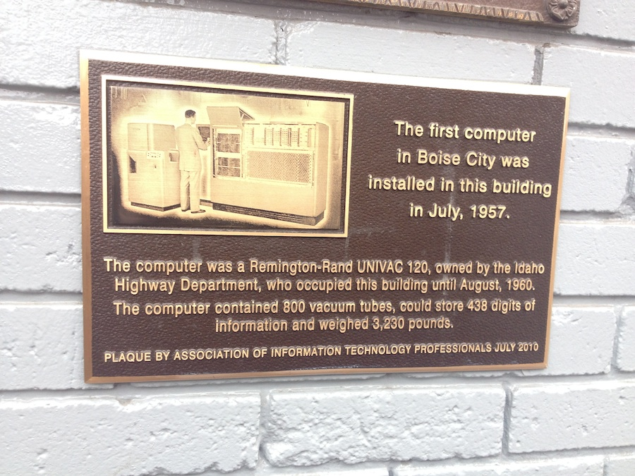 Plaque from Boise, Idaho. Photo by the author.