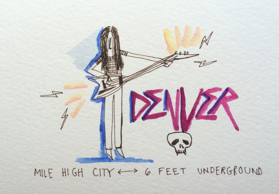 Watercolor Impressions of the heavy metal performance style by the author.