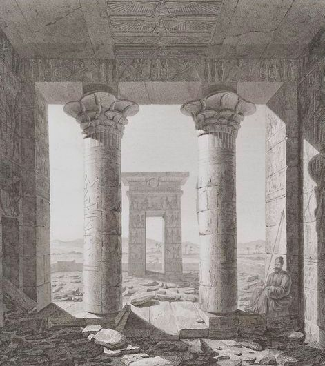 View of the propylon gateway from inside Wadi Gharby Dendur / Dandour Temple, by François Chrétien Gau, 1819. Via.