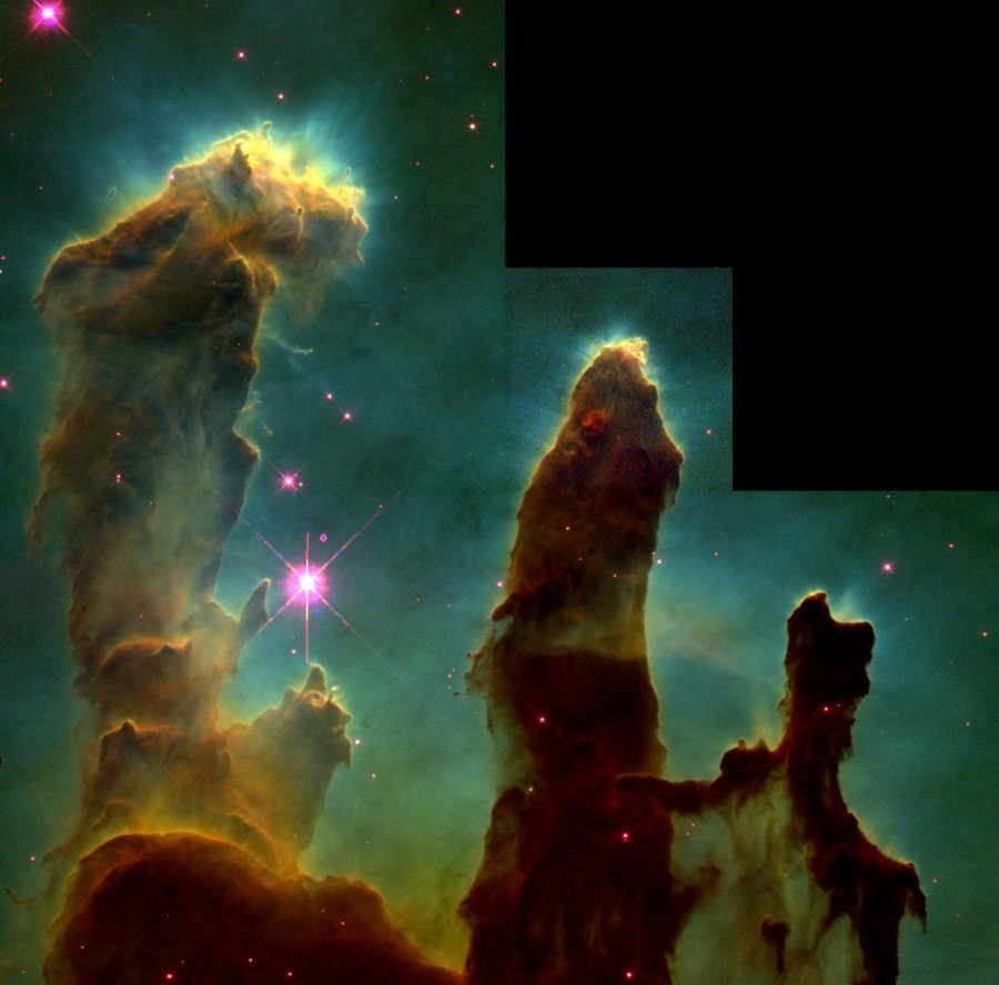 Gas Pillars in the Eagle Nebula (M16)- Pillars of Creation in a Star-Forming Region (NASA)