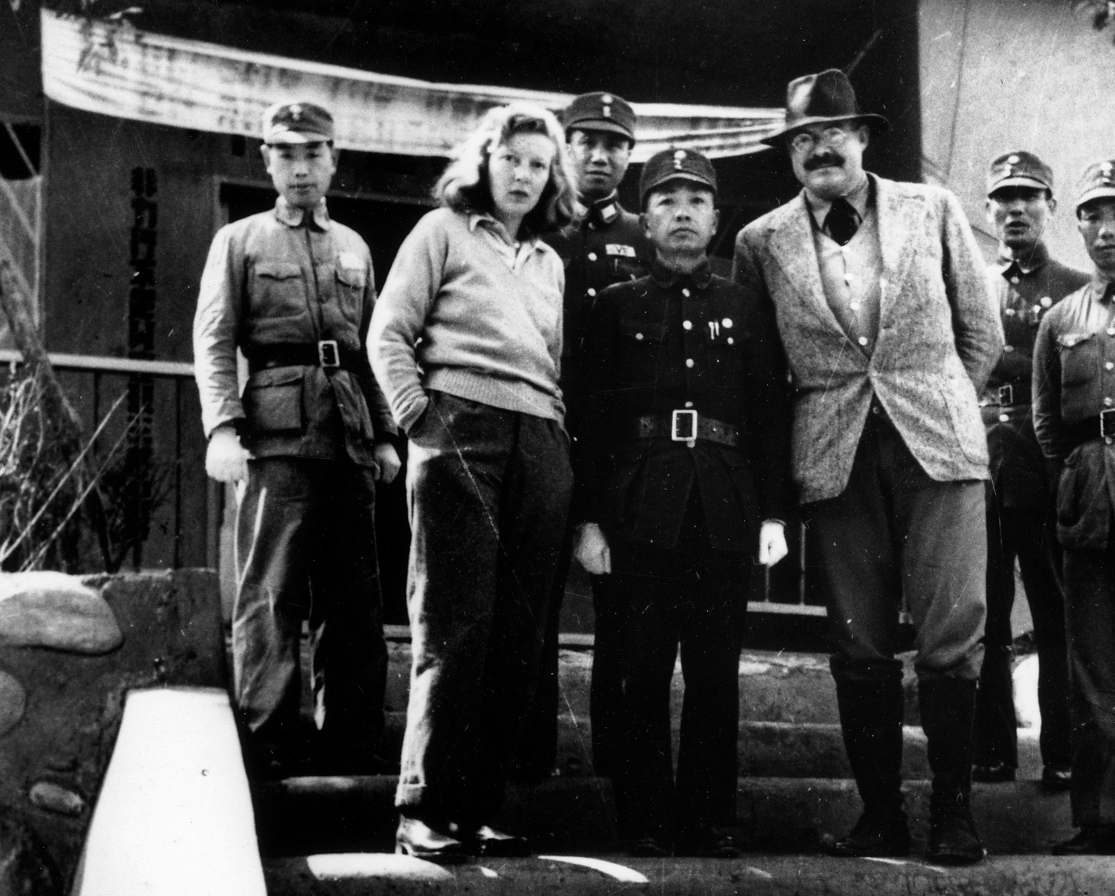 War reporter Martha Gellhorn and husband Ernest Hemingway with General Yu in Hanmou, Chungking, China, 1941.