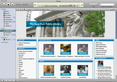 A three column iTunes U page