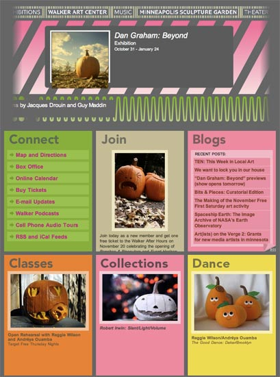 walker homepage with pumpkins