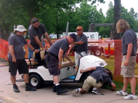 Crew vs. golf cart- Saturday @ 7pm