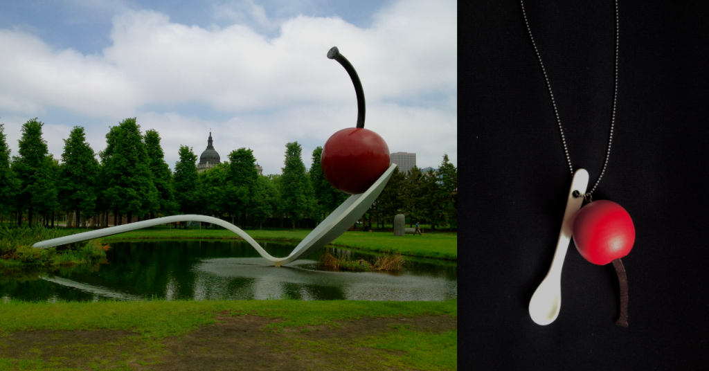 <em>Spoonbridge and Cherry</em> by Claes Oldenburg & Coosje van Bruggen ; necklace. Photo: Nicola Carpenter and Susanne Dehnhard Carpenter