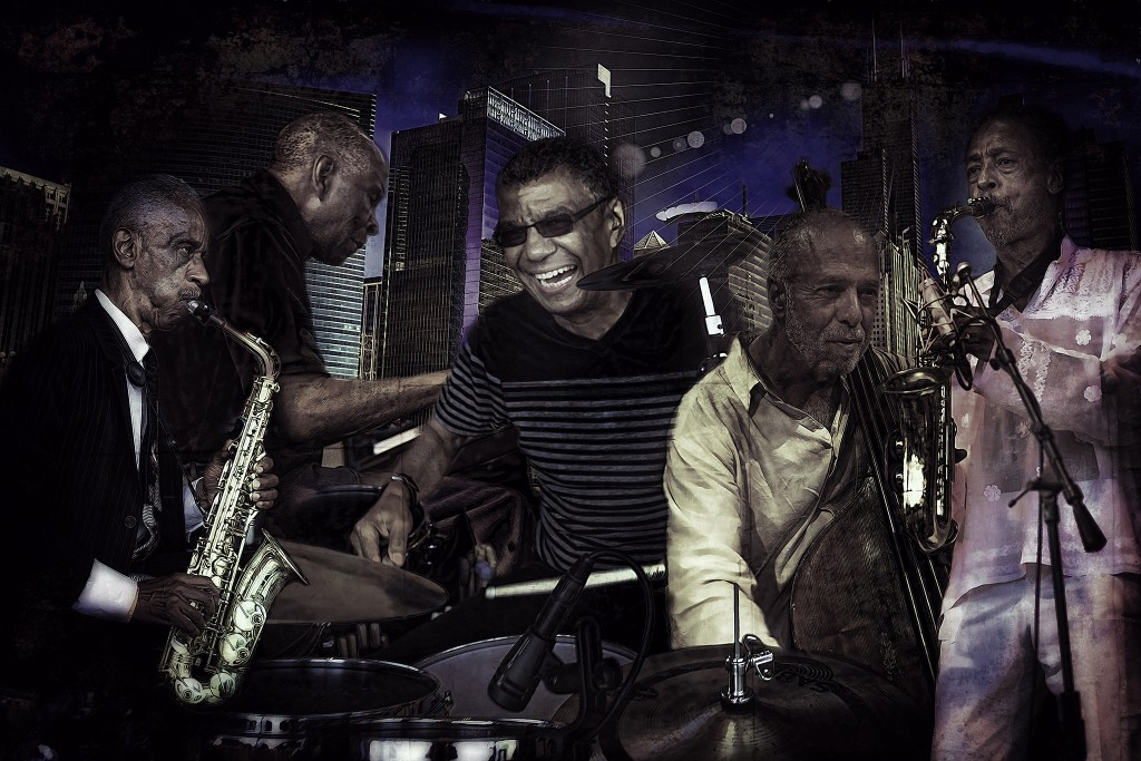 Left to right: Roscoe Mitchell, Muhal Richard Abrams, Jack DeJohnette, Larry Gray, and Henry Threadgill. Photo: Paul Natkin