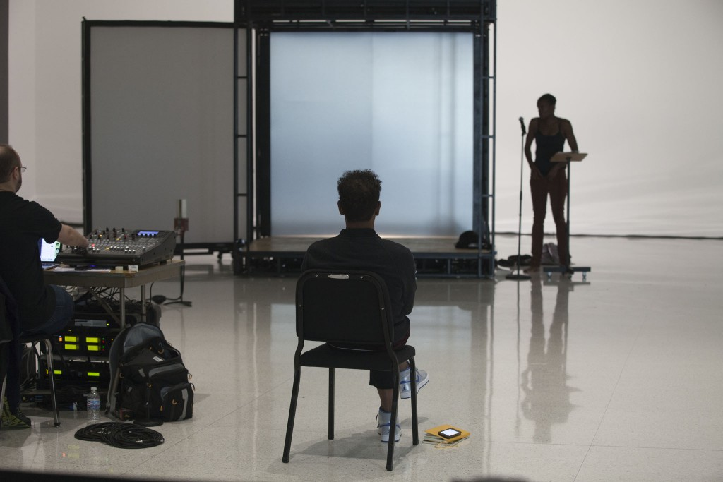 Ralph Lemon at a rehearsal for Scaffold Room, 2014. Photo: Gene Pittman, Walker Art Center