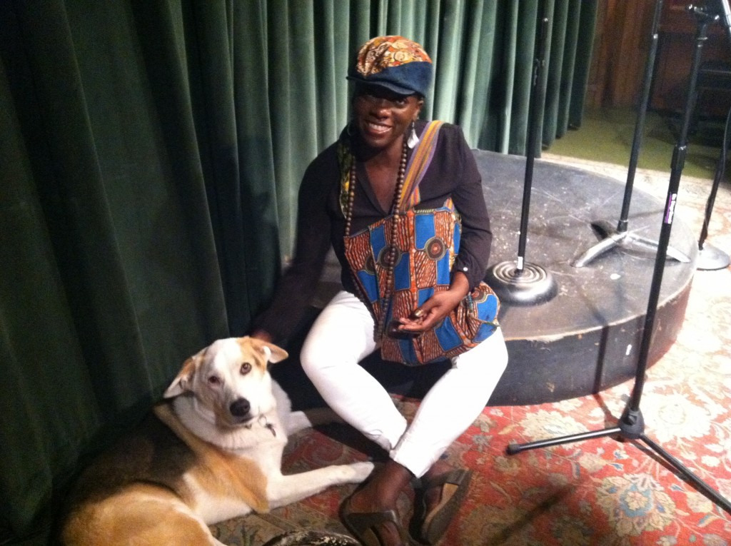 Writer/performer Oceana James and my dog, Rey, at the 7 Daughters Academic Re-Education Event at Dixon Place