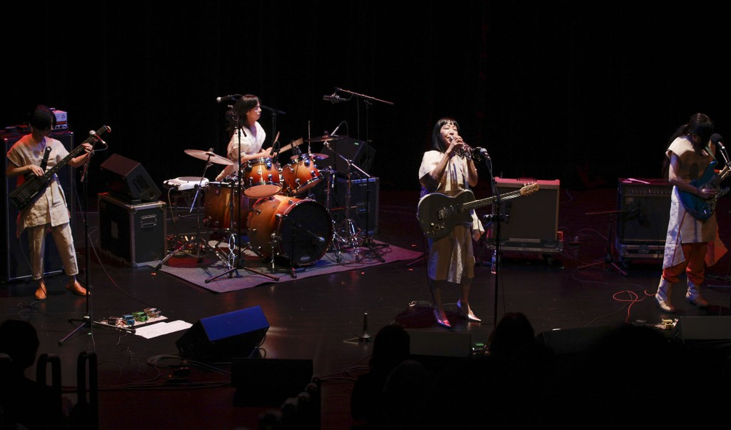 pa2015ooioo1203_ Performing Arts, Music, Performances. Japanese avant-tribal-noise-pop collective OOIOO (oh-oh-eye-oh-oh) perform in the McGuire Theater, December 3, 2015. Under the intrepid leadership of Yoshimi P-We (cofounder of Japanese band Boredoms and the inspiration behind the Flaming Lips's Yoshimi Battles the Pink Robots), the group has subverted expectations and warped perceptions of what constitutes pop and experimental music since the mid-1990s.  The concert opens with a special set by Minnesota-based Javanese musician Joko Sutrisno and his Sumunar Gamelan Ensemble.
