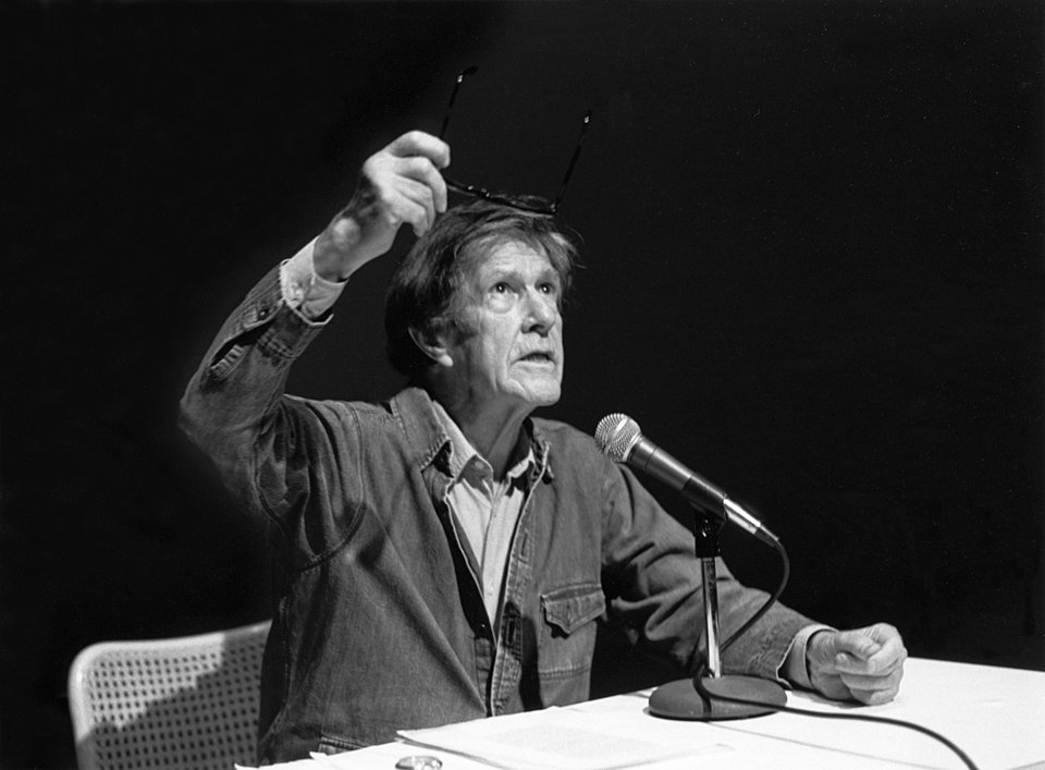 John Cage reads from Muocye at the Walker Art Center, Februrary 1980. Photo: Glenn Halvorson