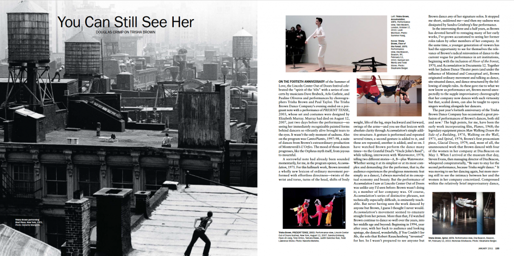 Douglas Crimp's 2011 Artforum feature on Trisha Brown, via academia.edu