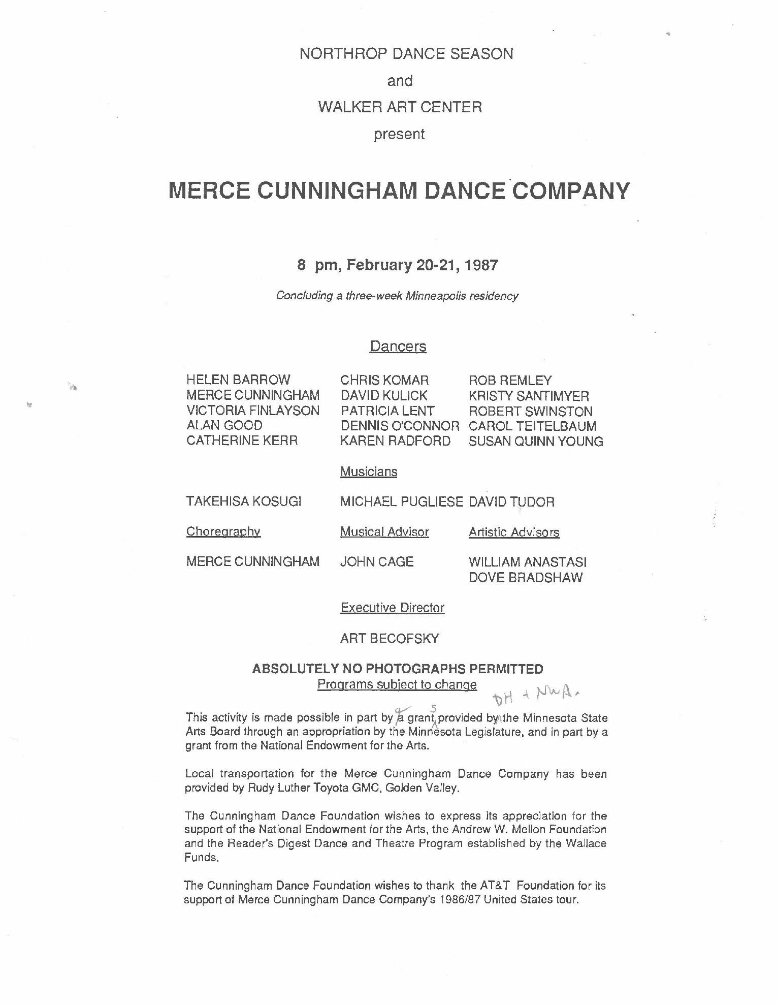 Draft of the program for the 1987 MCDC performance at Northrup, including Fabrications