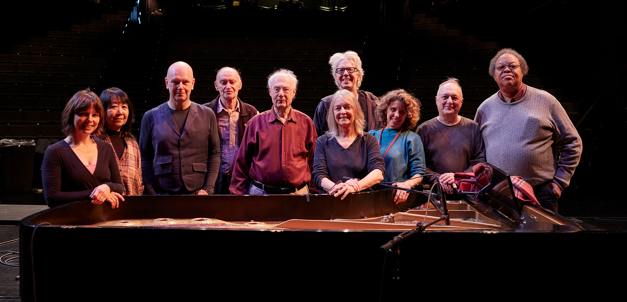 Left to right: Quinta, Ikue Mori, Philip Selway, Christian Wolff, David Behrman, Joan La Barbara, John King, Zeena Parkins, Fast Forward, George Lewis. Photo: Gene Pittman