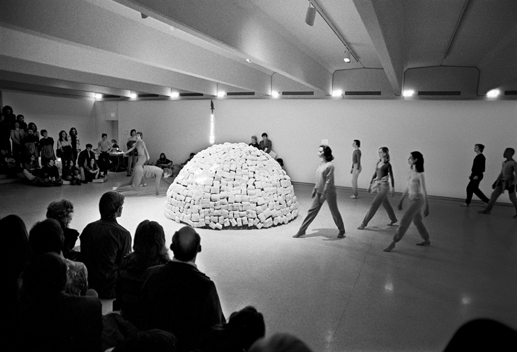 Merce Cunningham Dance Company performing Event #32 in the gallelyr alongside Mario Merz's Fibonacci Igloo (1972, Walker Art Center, Minneapolis, March 12, 1972