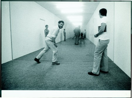 "Graham (left) inside ""Public Space/Two Audiences"" (1976)"