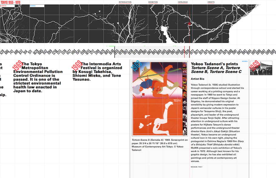 Screengrab from the online interactive timeline for Tokyo 1955–1970: A New Avant-Garde