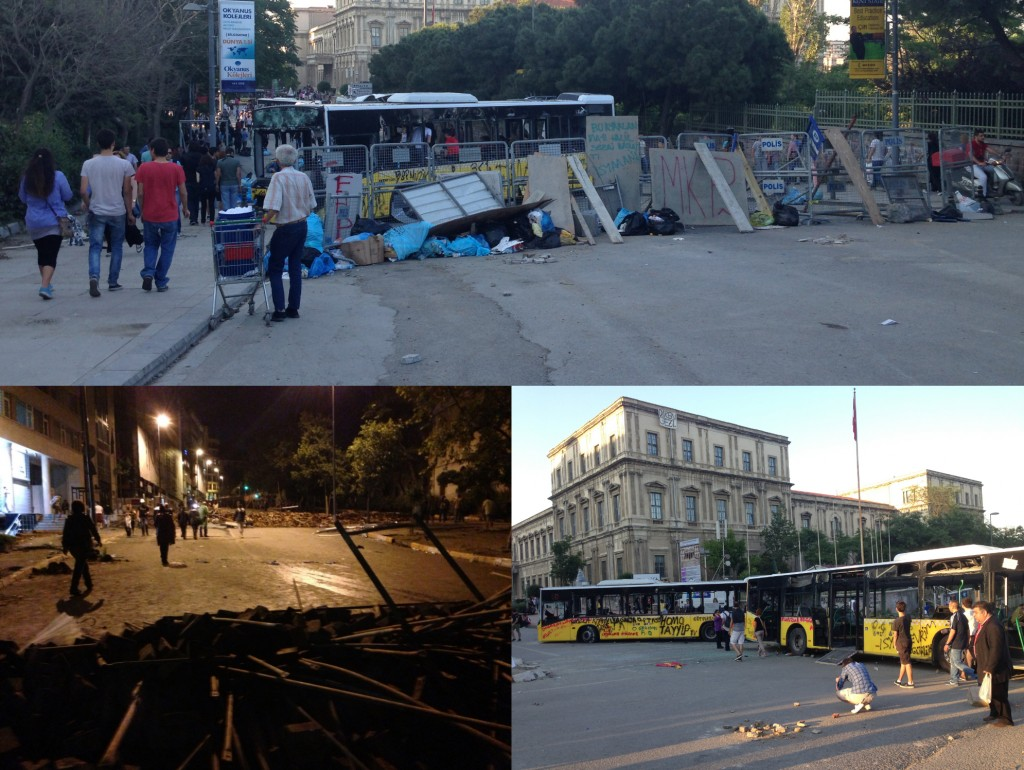 Some of the makeshift barricades. Photo: Ceren Erdem