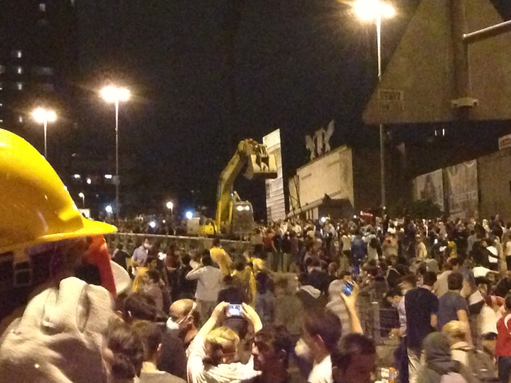 Bulldozer taken over by protestors later became one of the symbols of the resistance. Photo: Ceren Erdem