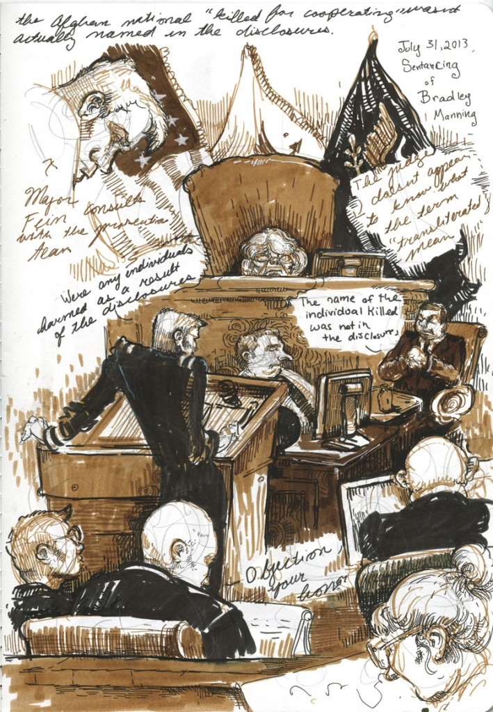Molly Crabapple's courtroom sketch from PFC Manning's trial