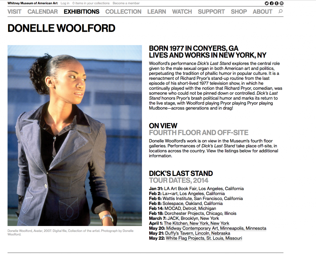 The Whitney Biennial's page promoting Donelle Woolford