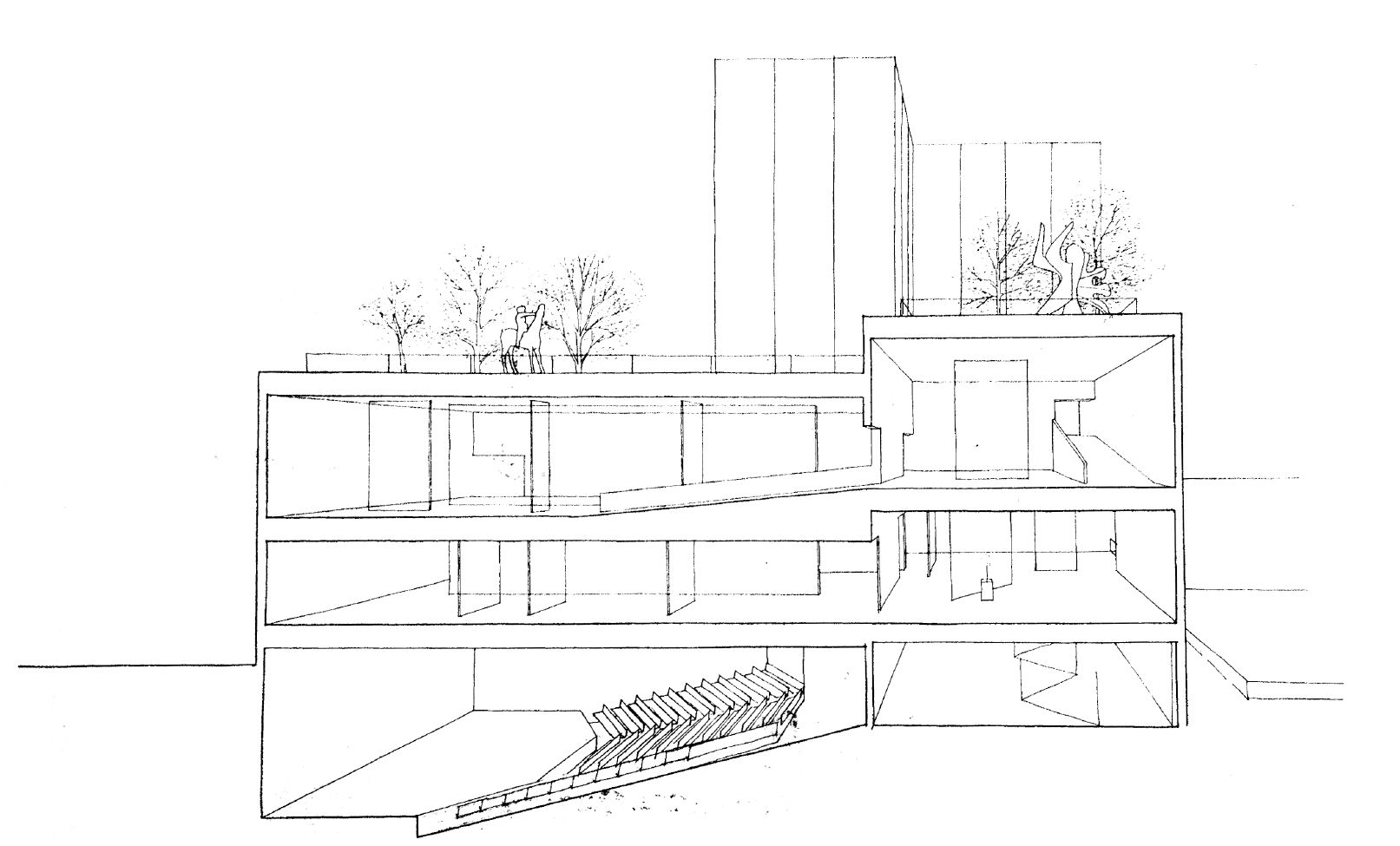Cross-sectional drawing of the Walker Art Center auditorium and galleries, circa 1969 (Edward Larrabee Barnes, architect, 1971)