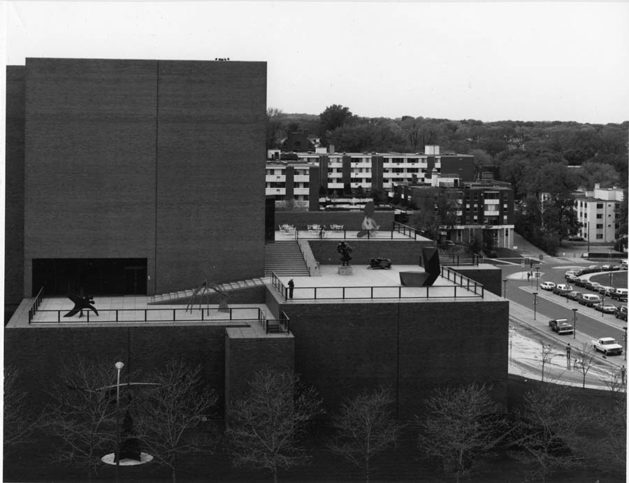 Exterior view, Walker Art Center terraces, circa May 1971 (Edward Larrabee Barnes, architect, 1971)
