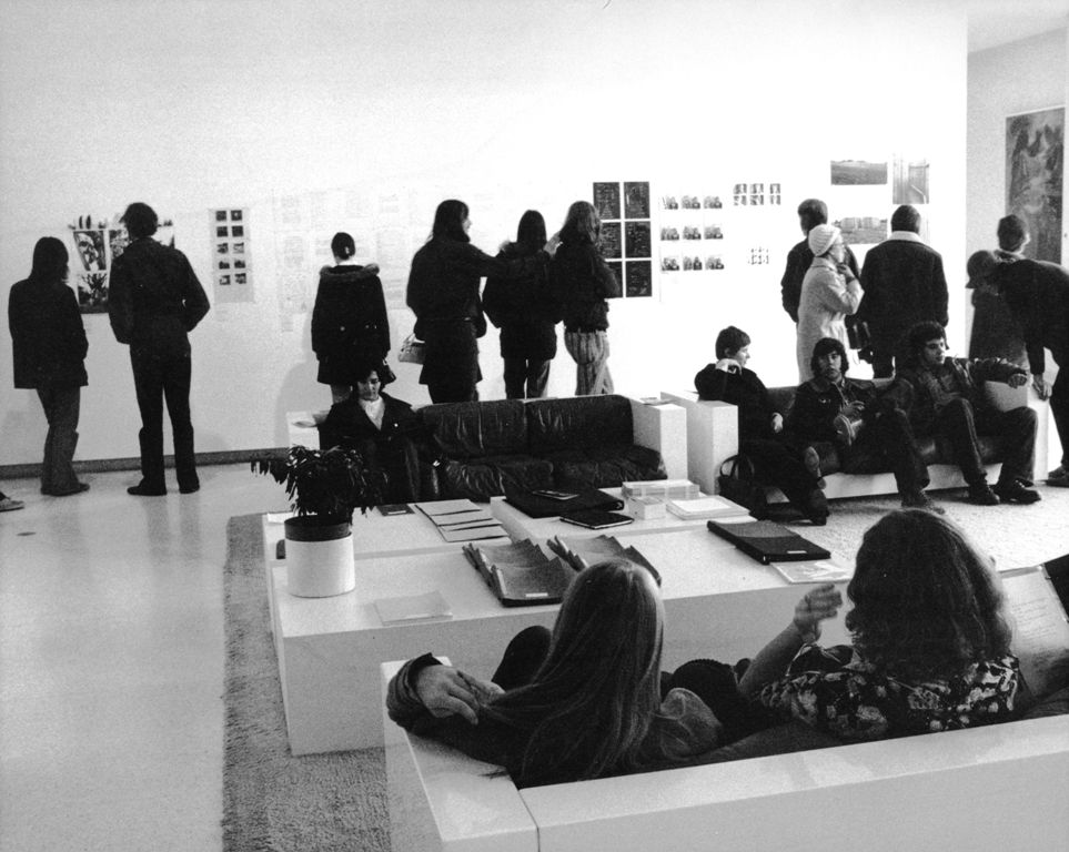 Installation view of the exhibition c. 7,500, curated by Lucy Lippard, Gallery 7, Walker Art Center, November 1973