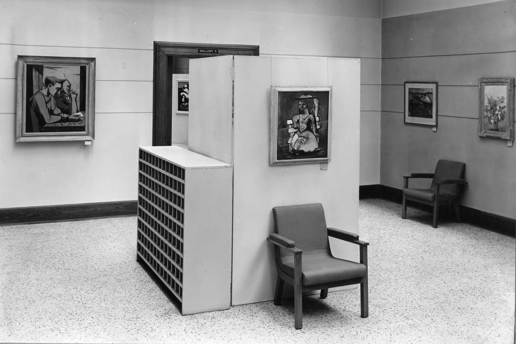 Installation view of the exhibition 92 Artists, Walker Art Center, June 1943 (Long & Thorshov, architects, 1927)