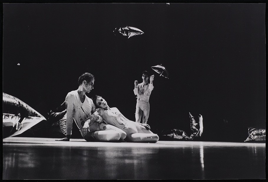 Oscar Bailey, Merce Cunningham, Barbara Dilley, and Albert Reid in RainForest,  performance at State University New York at Buffalo College, Walker Art Center, Merce Cunningham Dance Company Collection, Gift of Jay F. Ecklund, the Barnett and Annalee Newman Foundation, Agnes Gund, Russell Cowles and Josine Peters, the Hayes Fund of HRK Foundation, Dorothy Lichtenstein, MAHADH Fund of HRK Foundation, Goodale Family Foundation, Marion Stroud Swingle, David Teiger, Kathleen Fluegel, Barbara G. Pine, and the T. B. Walker Acquisition Fund, 2011