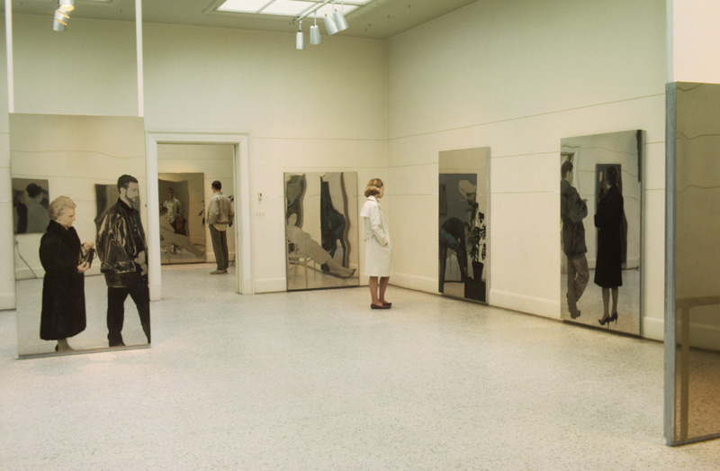"Installation view of Michelangelo Pistoletto: A Reflected World,"" with ""Seated Woman"" center, Walker Art Center, April 1966"