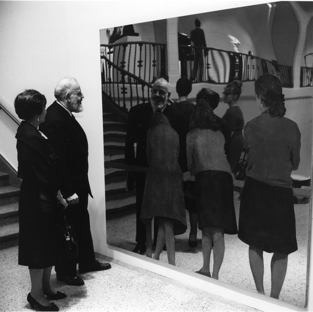 """Three Girls on a Balcony"" installation view from ""Michelango Pistoletto: A Reflected World,"" April 1966"