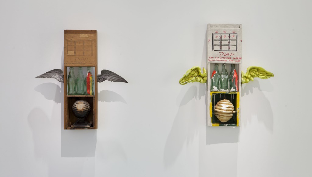 International Pop exhibition view. © the Walker Art Center. Left to right: Robert Rauschenberg's Coca Cola Plan and Ushio Shinohara's replica.