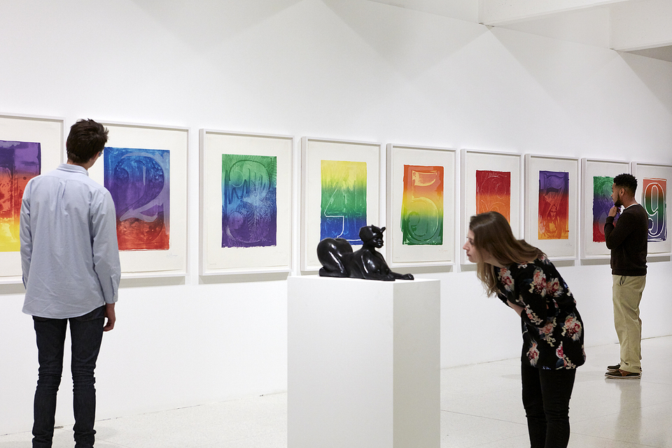 Installation view of Less Than One, with works by Jasper Johns and Kara Walker