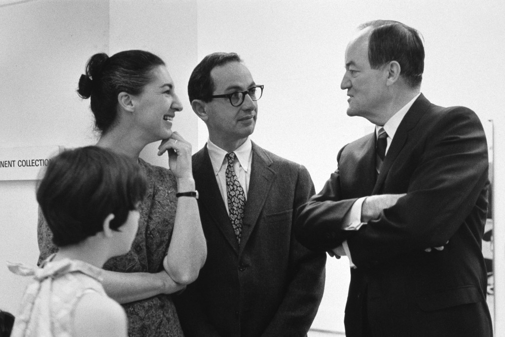 1967 Martin and Mickey Friedman with Hubert Humphrey at Walker Art Center