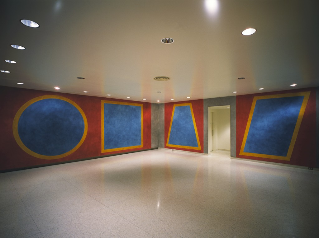 Sol LeWitt, Four Geometric Figures in a Room, 1984. Ink on latex paint on gypsum board. Installation commissioned by the Walker Art Center with funds provided by Mr. and Mrs. Julius Davis, 1984.