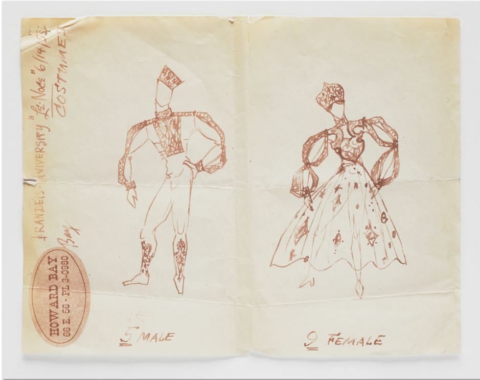 "Howard Bay, copy of sketched costumes study for Les Noces"" 1952. Walker Art Center 2011.313"
