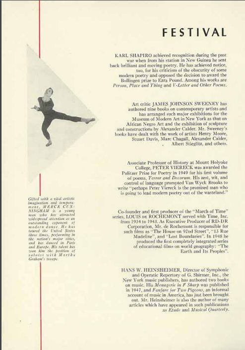Festival of the Creative Arts, festival program, 1952. Brandeis University Archives