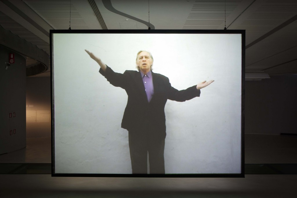 Installation view of Jimmie Durham's  A Proposal for a New International Genuflexion in Promotion of World Peace (2007), MAXXI Museum, Rome, Italy