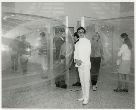 Les Levine in front of 'Primetime Star' installed as part of Les Levine: Two Environments (1967), Walker Art Center, Minneapolis. Photo courtesy Walker Art Center Archives