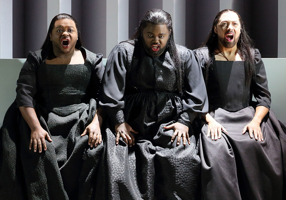 G. Thomas Allen, John Holiday, and Darryl Taylor in Dido and Aeneas. Photo: LA Opera