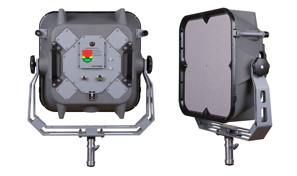 Product shots of the LRAD 500X, which its maker says unparalleled long-range communication and scalable non-lethal, non-kinetic Escalation of Force