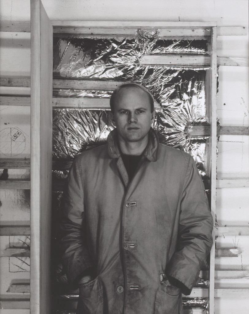Hollis Frampton, untitled from the series James Rosenquist, 1963, black-and-white photograph, Collection Walker Art Center