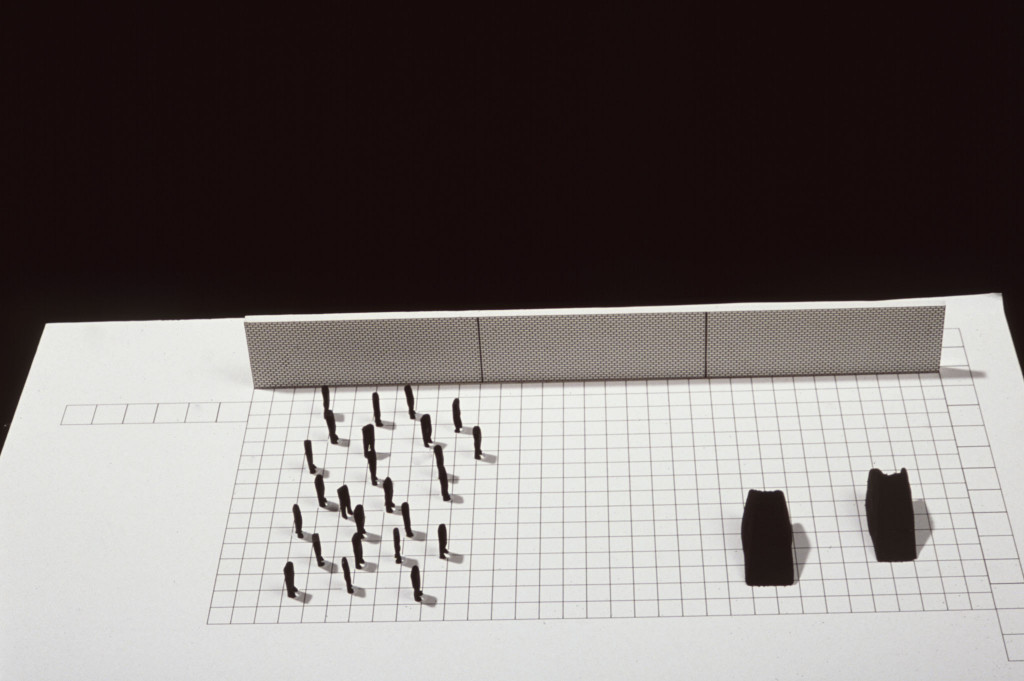 A model showing Magdalena Abakanowicz's proposal for the Minneapolis Sculpture Garden Court, 1990