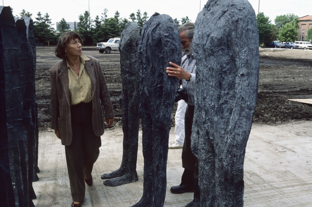 Magdalena Abakanowicz inspecting Bronze Crowd (1990-1991), Minneapolis Sculpture Garden, May 1992