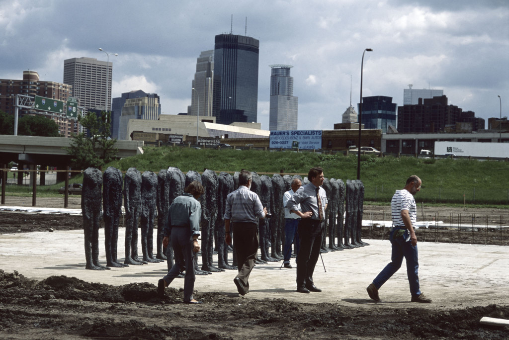 A trial installation of Magdalena Abakanowicz's Bronze Crowd (1990-1991) in the Minneapolis Sculpture Garden, May 1992