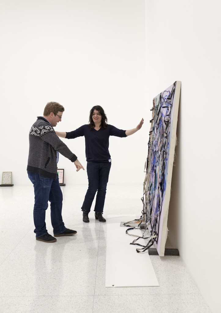 Painter Painter co-curator Eric Crosby with Molly Zuckerman-Hartung in front of The Necessary (Blushing for Now) (2012)