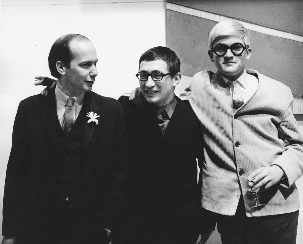 Art dealer John Kasmin with artists Joe Tilson and David Hockney