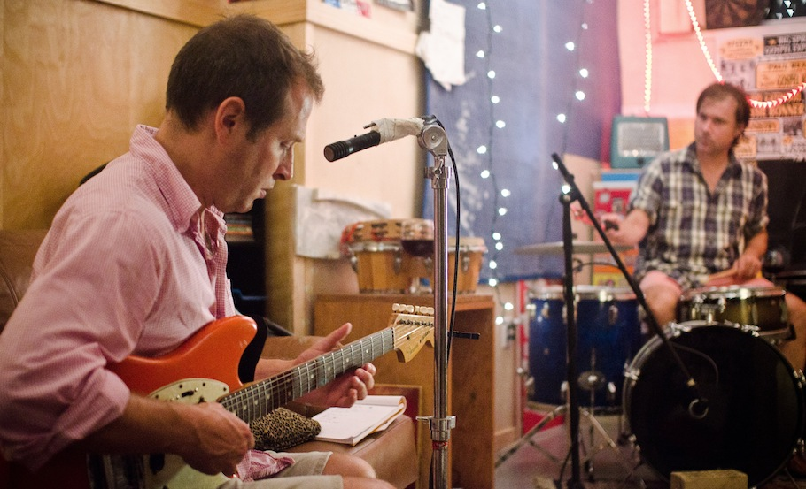 Bill (played by Ned Oldham) jamming with Jack (Jack Carneal). Photo courtesy Strand Releasing.